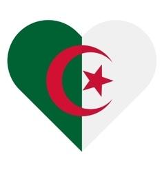 Algeria flat heart flag vector image vector image