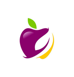 Apple organic fruit logo vector