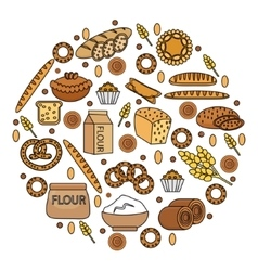 Bakery products icon set in a round shape line vector