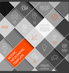 Black and white mosaic infographic template vector