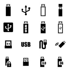 black usb icon set vector image vector image