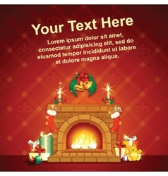 Card background wit christmas decorative fireplace vector