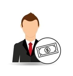 Cartoon business man money bills vector
