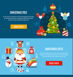 christmas tree and gifts banners vector image vector image