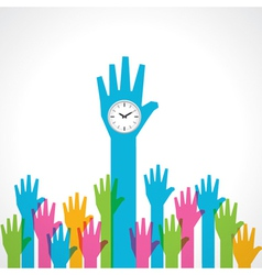 Colorful helping hand with clock vector image vector image