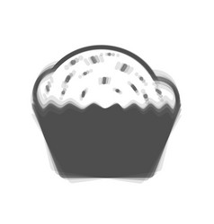 Cupcake sign gray icon shaked at white vector