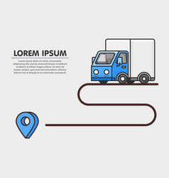 Delivery path blue trailer shipping background vector