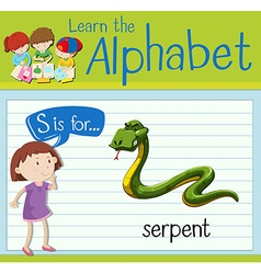 Flashcard letter s is for serpent vector