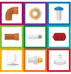 flat icon plumbing set of industry drain conduit vector image