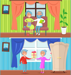 Happy older people at home set of vector