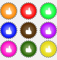 Like thumb up icon sign a set of nine different vector