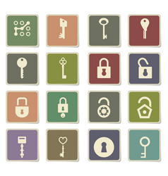 Lock and key icon set vector