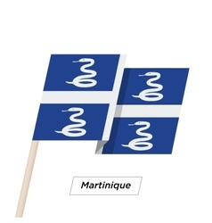 Martinique Ribbon Waving Flag Isolated on White vector image vector image