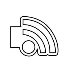 monochrome contour emblem with wifi icon vector image vector image