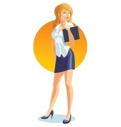 office girl or secretary holding folders vector image