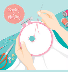 people hand darning clothes in embroidery hoop vector image vector image