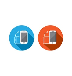 Rotate flat smartphone or cellular phone or tablet vector