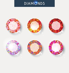 Set realistic diamond with reflex glare and shadow vector