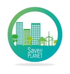 Stamp save the planet city energy eco icon graphic vector