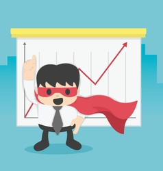 Super businessman with growing graph Business vector image