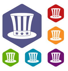 Uncle sam hat icons set hexagon vector