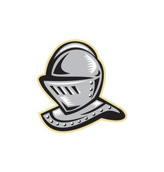 Knight helmet woodcut vector