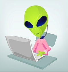Cartoon technical support alien vector