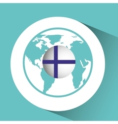 Finland flag pin map design vector