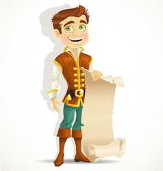 Cute prince with a scroll of parchment vector
