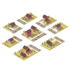 Isometric low poly suburban buildings vector