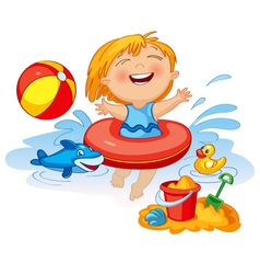 Funny little girl swims in a sea in an red life vector