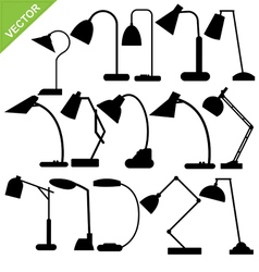 Desk lamp silhouettes vector