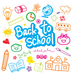 Back to school draw kid cute cartoon design vector
