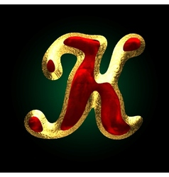 Golden and red letter k vector