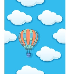 Air baloon and clouds seamless vector