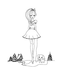 Girl and her puppy doodle vector image