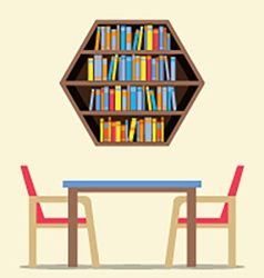 Chairs and table with hexagon bookshelf on wall vector