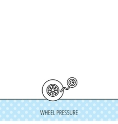 Wheel pressure icon tire service sign vector