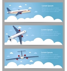Set of web banners flight of the plane vector