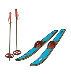 Skis with classic bindings and ski poles vector