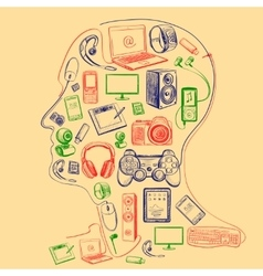 Electronic gadget colors icons in man head vector