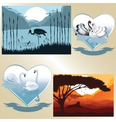 Set of pictures on romantic and natural vector