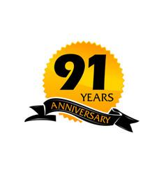 91 years ribbon anniversary vector image vector image