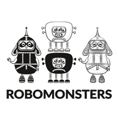 Contour and silhouette robots set vector