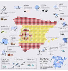 Dot and flag map of spain infographic design vector
