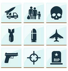 battle icons set collection of target fugitive vector image vector image