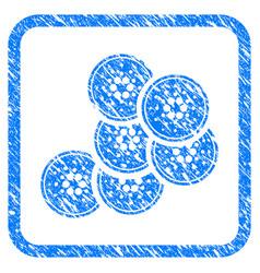 Cardano coins framed stamp vector
