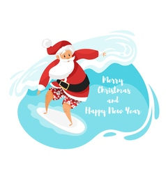 cartoon style of Santa surfer riding the wave vector image vector image