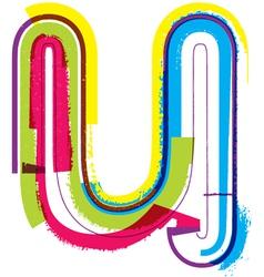 Colorful Grunge font Letter u vector image