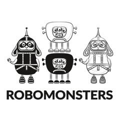 Contour and Silhouette Robots Set vector image